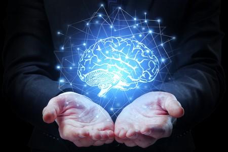 Un cerveau posé dans des mains ouvertes paumes vers le haut